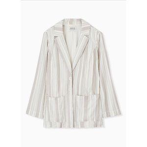 🆕 Torrid Taupe Striped Linen Blazer Jacket 2X 18
